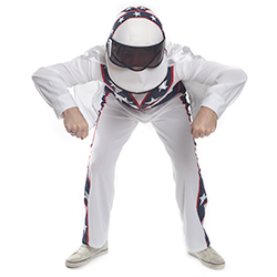 Flying White, Blue and Red Stuntman Costume