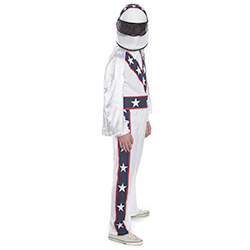 Side Facing White, Blue and Red Stuntman Costume