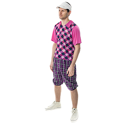 Man wearing a Chequered Pub Golf Costume
