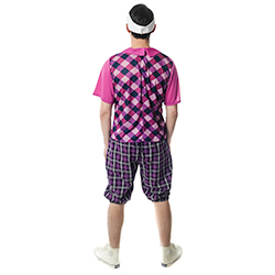 Man wearing a Chequered Pub Golf Costume rear view