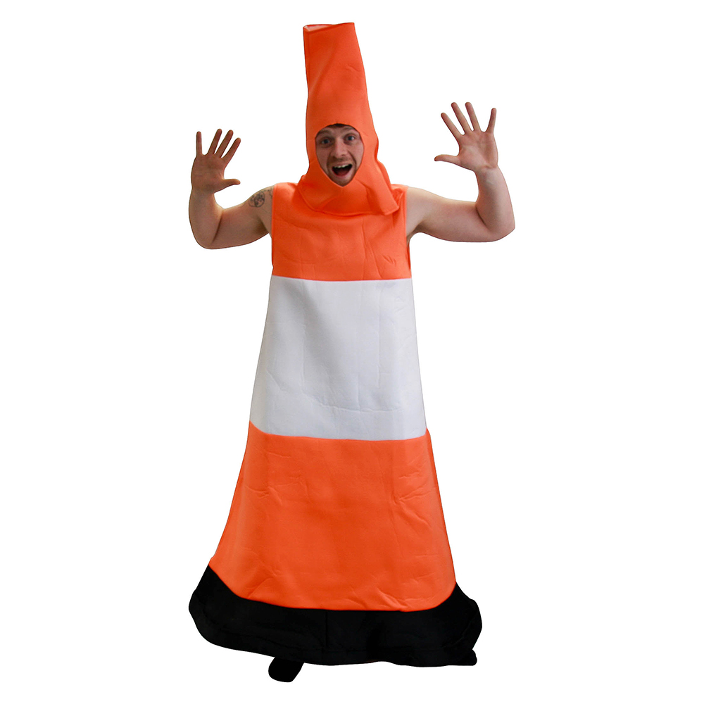 Traffic Cone Costume Front View In Front Of White Background