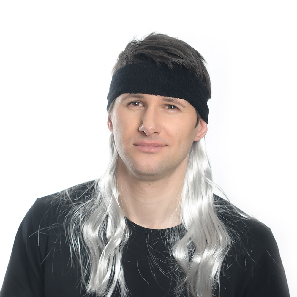 Silver Mullet With Black Head Band Worn By Model
