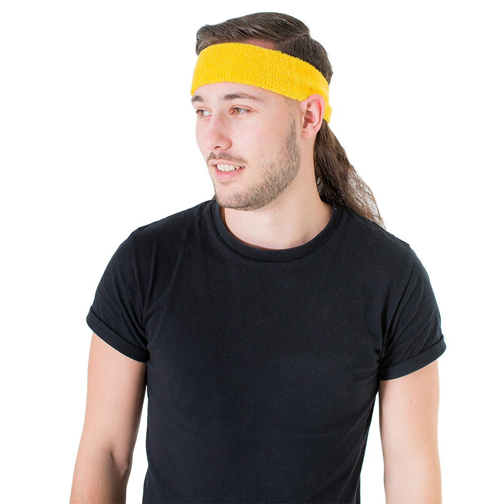 Fantastic Yellow Headband With Attached Mullet