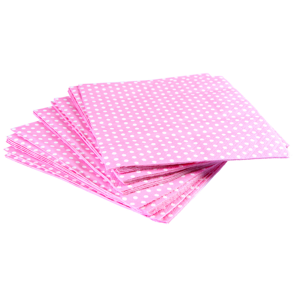 Pink Napkins with Spots Light Pink