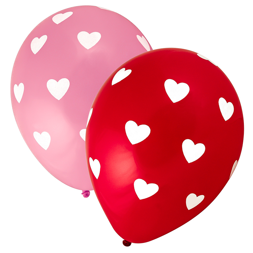 Assorted White Hearts Balloons