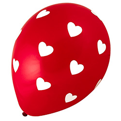 Red and White Hearts Balloons