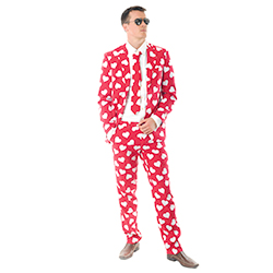 Red and white heart patterned suit