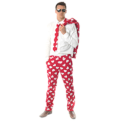 Man in red and white heart patterned suit