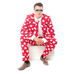 Red suit with white hearts