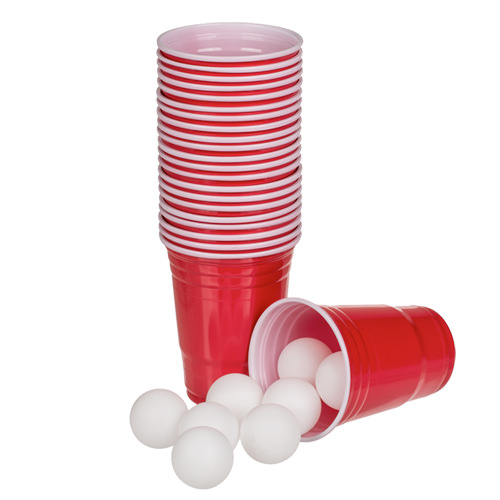 Beer pong set with 12 plastic cups.