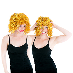 Two people wearing the wig