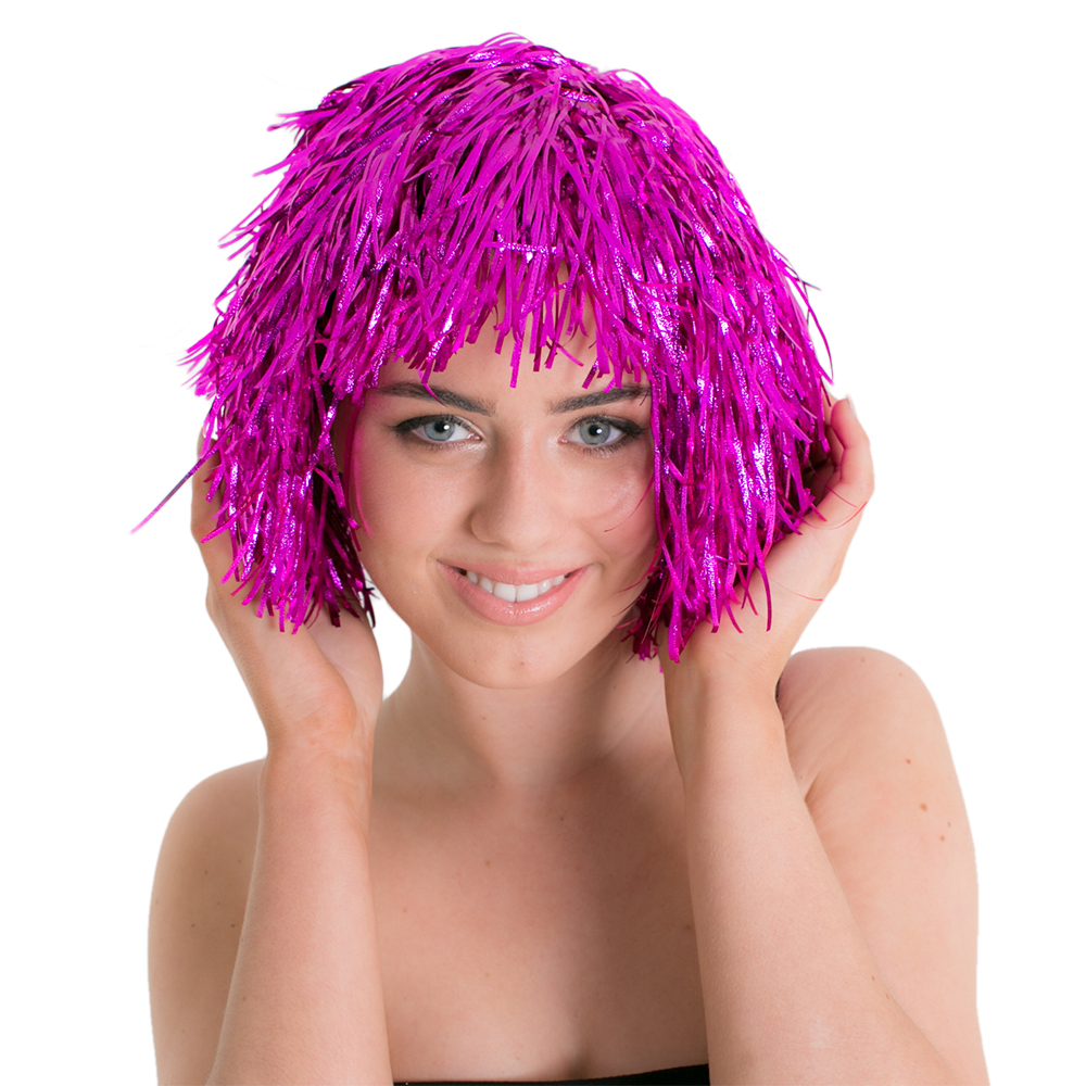 Front Of Purple Tinsel Wig