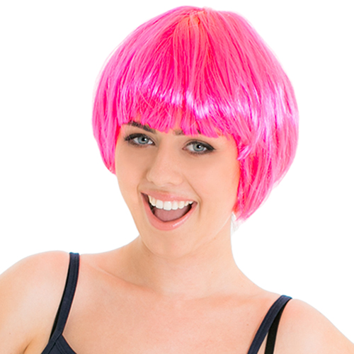 Front Of Neon Pink Babe Wig
