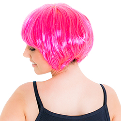 Back Of Neon Pink Babe Wig