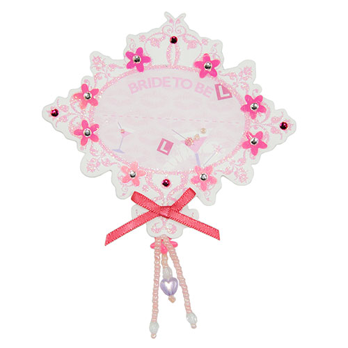 Pink Cardboard Bride to be badge On White Packaging