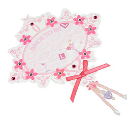 Pink Cardboard Bride to be badge On White Packaging Side Angle