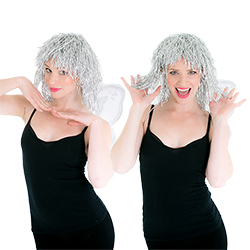 Two shots of somebody wearing the silver wig