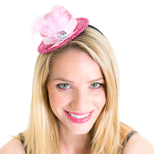 Pink Top Hat With Fascinator