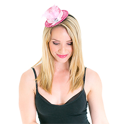 Model wearing Pink Top Hat With Fascinator