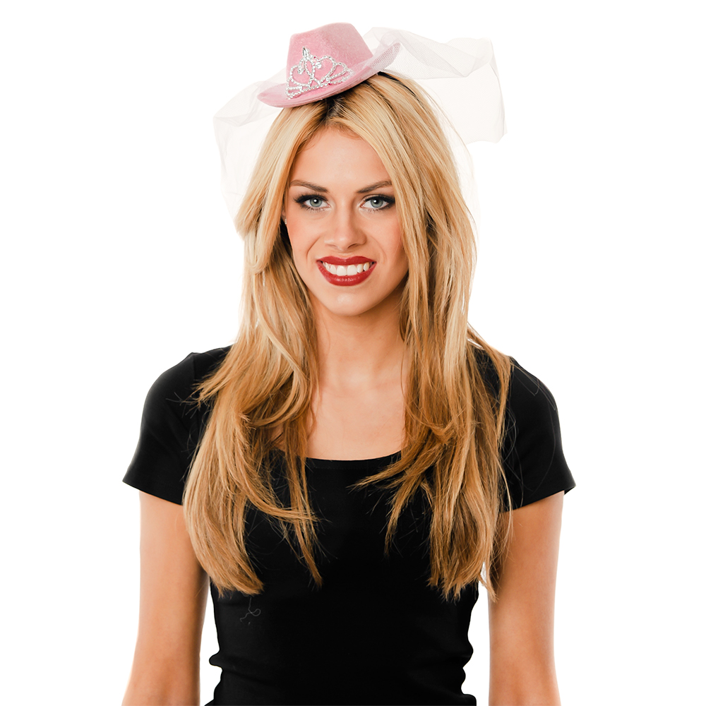 Model Wearing Mini Pink Cowboy Hat With White Veil