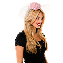Side Of Mini Pink Cowboy Hat With White Veil