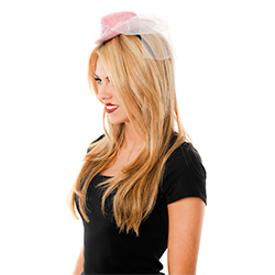 Model Wearing Mini Pink Cowboy Hat With White Veil Side View
