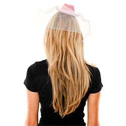 Back Of Mini Pink Cowboy Hat With White Veil