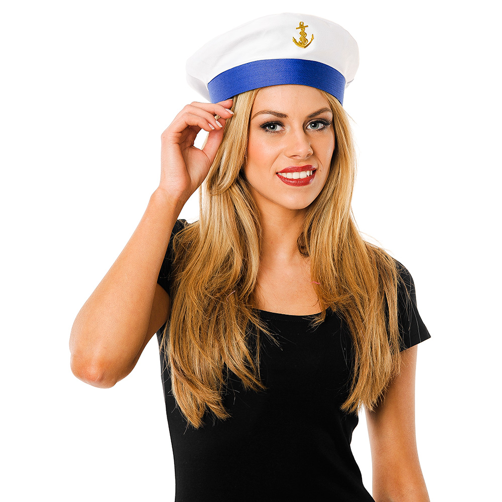 Fantastic Sailor Hat In White With Blue Ribbon