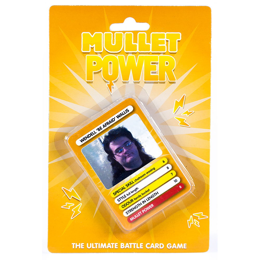 Hilarious Mullet Battle Cards Game Front Packaging