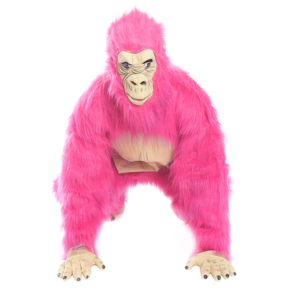 Neon Pink Gorilla Costume On All Four's