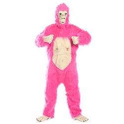 Fluorescent Pink Gorilla Costume Beating Chest