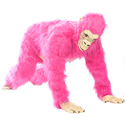Neon Pink Gorilla Costume on all fours