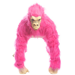 Neon Pink Gorilla Costume head on
