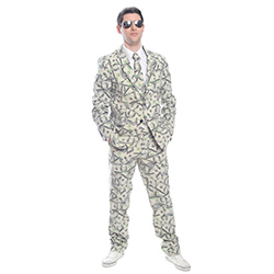 Suit patterned with dollars