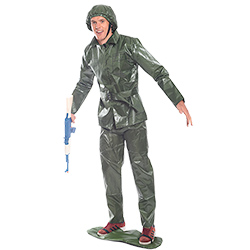 Toy Soldier Costume Holding Plastic Gun In Front Of White Background