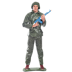 Green toy solider costume with foot base
