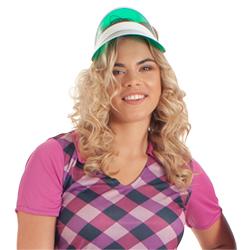 A model wearing the green golf visor.