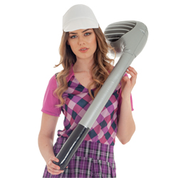 Golfer holding the club over her shoulder.