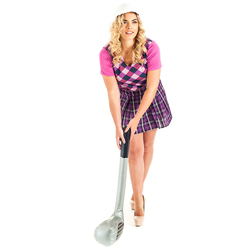 A golfer lining up her shot