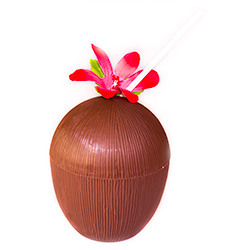 Coconut Cup With Flower And Straw