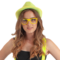 A model wearing neon yellow glasses and matching hat.