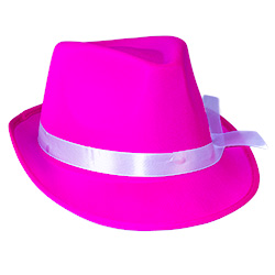 Pink Neon Gangster Hat On White Background