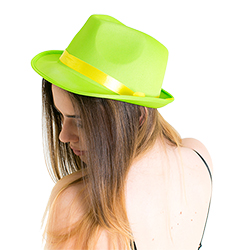 Side view of Model wearing the Green Neon Gangster Hat