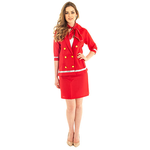 Sizzling red air hostess