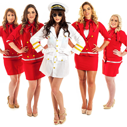 The pilot with four air hostesses
