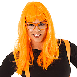 A girl wearing orange glasses and an orange wig