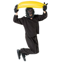 Jumping for joy with a huge banana