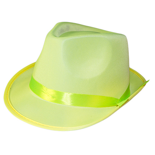 Yellow Neon Gangster Hat On White Background