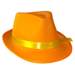 Orange Neon Gangster Hat On White Background