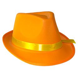 Orange Neon Gangster Hat On White Background